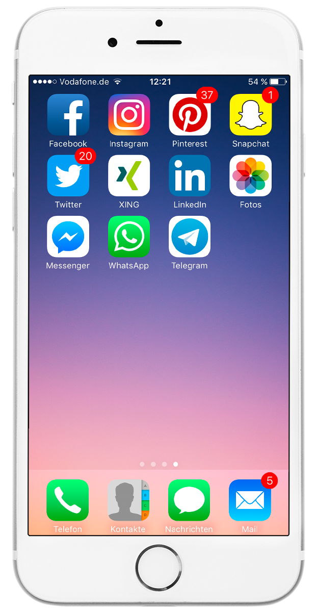 Smartphone Bildschirm mit Apps