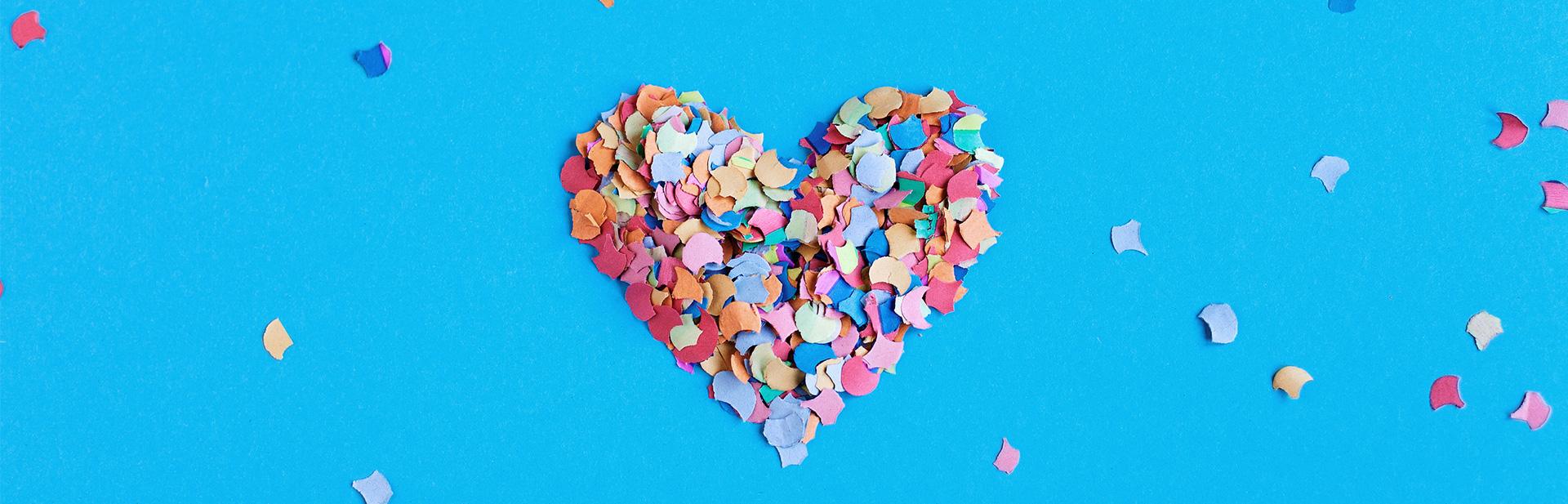 Herz aus buntem Konfetti