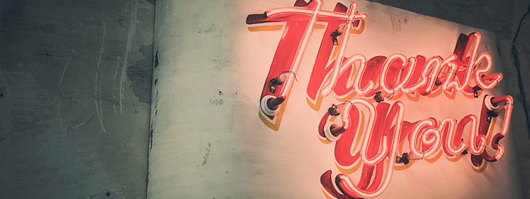 Leuchtschrift Thank you!