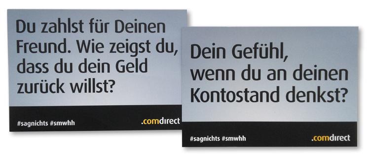 comdirect: Teilnahmekarten #sagnichts