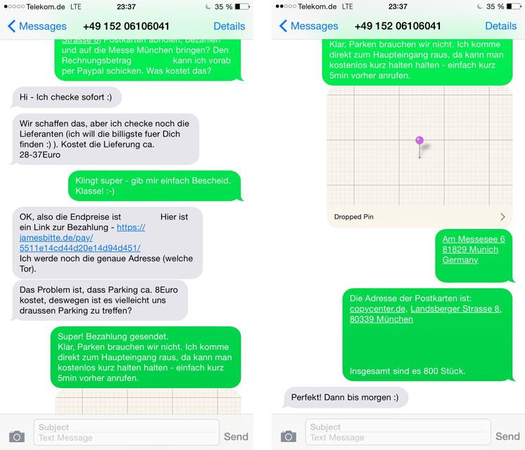 James, bitte | Auftrag per SMS