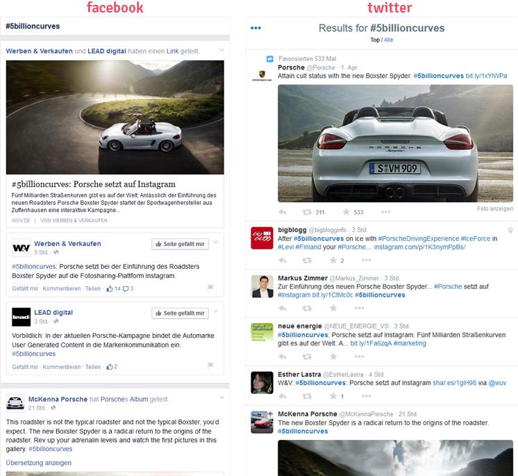 facebook und twitter Hashtag Suche