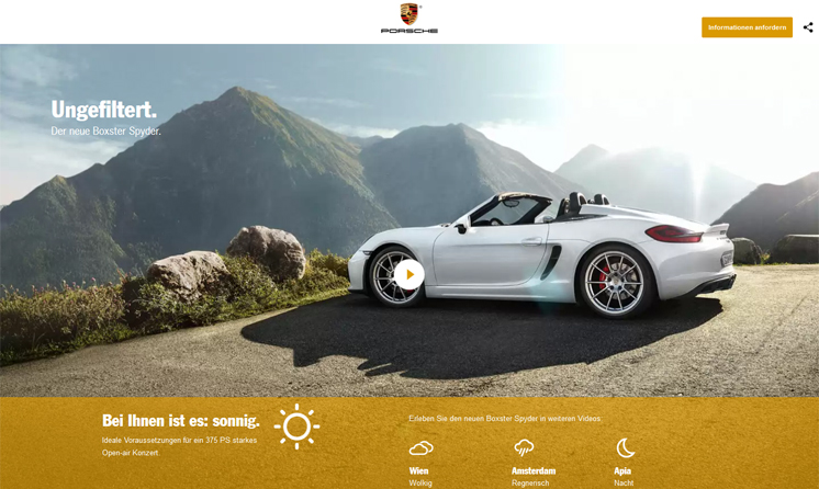 Startseite Porsche Boxster Landingpage