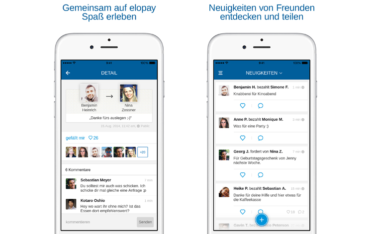 elopay | Screenshots der App mit Newsfeed