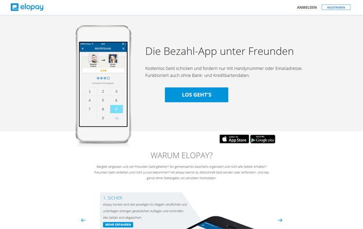elopay | Screenshot der Website