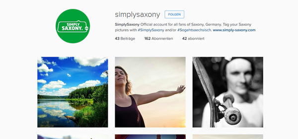Screenshot Instagramkanal simplysaxony