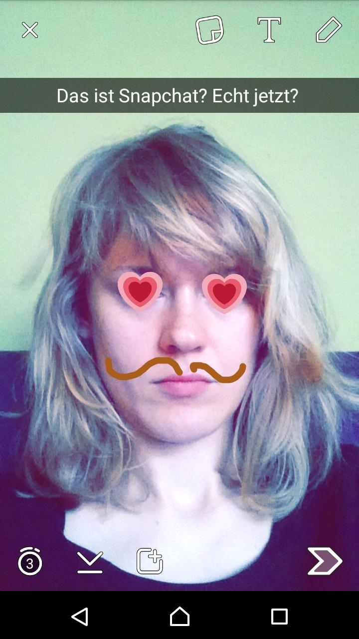 Snapchat-Selfie mit Gesicht