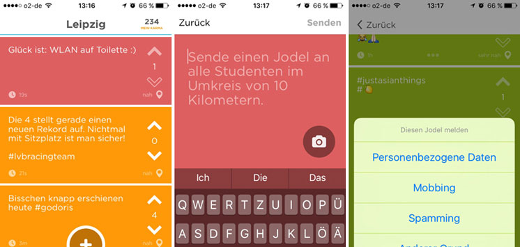 Screenshot Jodel App