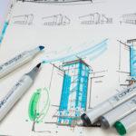 Skizze mit bunten Stiften
